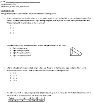 Complete Geometry unit on Lateral area, Surface area, and ...
