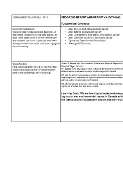 Complete Grade 4 Long Range Plan with Learning Goals and Big Ideas