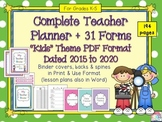 Teacher Planner with 31 Forms - Dated up to 2020 Easy to Use PDF Format