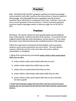 Complete Guide to SAT/ACT Grammar--Explanations, Examples and Practice Questions