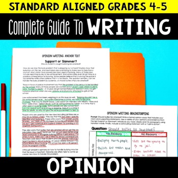 Opinion Writing Unit 4th and 5th Grade | Lesson Plans and Graphic Organizers