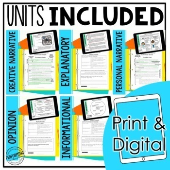 4th & 5th Grade Writing Units - Complete Guide Year Long Bundle PRINT & DIGITAL
