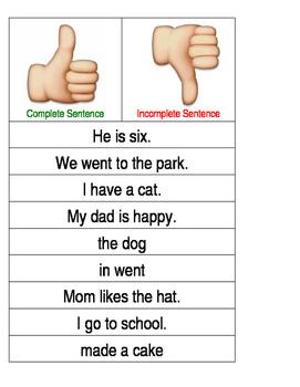Complete & Incomplete Sentence Sort