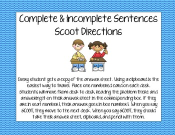 Complete & Incomplete Sentences Scoot