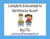 Complete & Incomplete Sentences Scoot