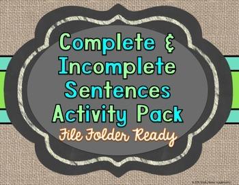 Complete & Incomplete Sentences Sort Activity Pack