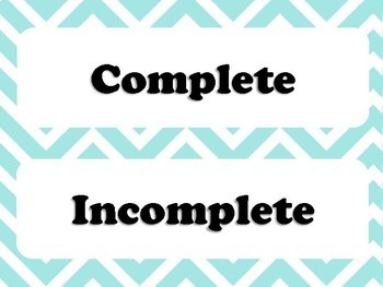 Complete / Incomplete Sentences Sorting Activity