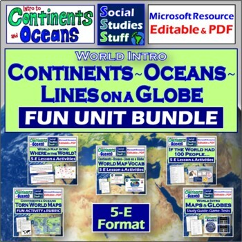 Complete Introduction to Continents and Oceans Unit (World Map)