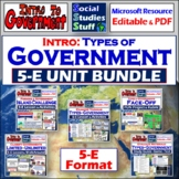 BUNDLE | Intro to Government 5-E Unit | Limited vs Unlimited | Distance Learning