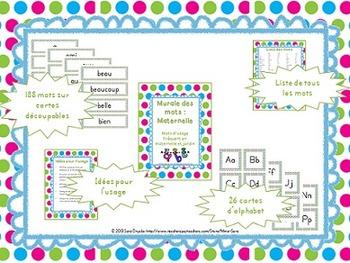 Kindergarten Word Wall - Murale des mots maternelle - French