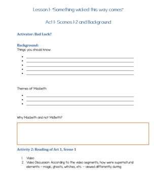 Complete Lesson Plan Pack-Macbeth