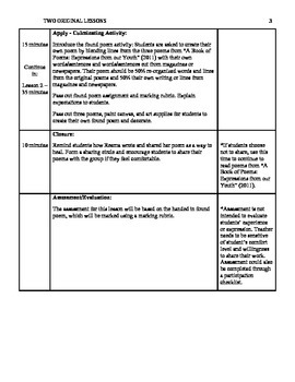 Complete Lesson Plan - Poetry Therapy for Newcomer / Refugee Students