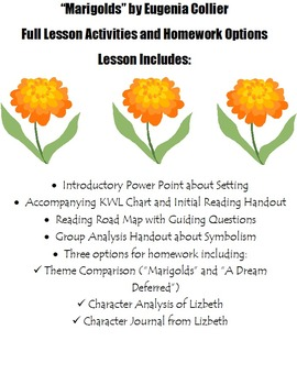 """Complete Lesson for """"Marigolds"""" by Eugenia Collier"""