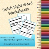 220 Dolch Sight Words Practice Worksheets