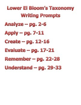 Complete Lower El Bloom's Taxonomy Writing Prompts