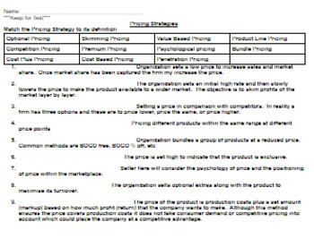 Complete Marketing Unit: Marketing Mix Pricing Activities, Quiz, Notes, etc