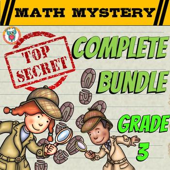 Complete Math Mystery Bundle (GRADE 3) - Spiral Math Review - CSI Math Center