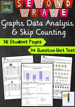 2nd Grade Math Unit & Test: Graphs, Data Analysis, Skip Counting ***ZIP