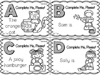 Complete Me, Please!  Complete the Sentence Task Cards