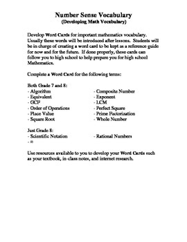 Complete Middle School Intermediate Mathematics Vocabulary Building Cards