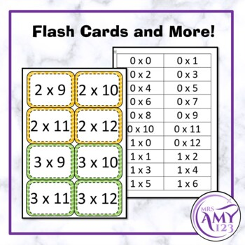 Multiplication/Times Table Posters, Flash Cards and More! Rainbow Chevron