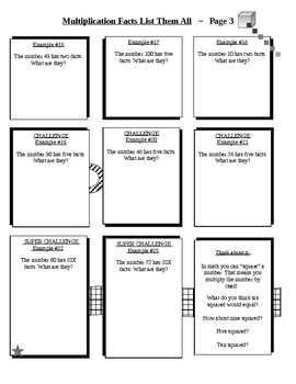 Complete Multiplication Facts Package