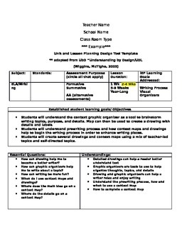 Complete Narrative Lesson Plan Template with context map assessment rubrics