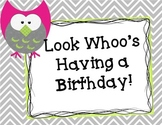 Complete Owl Birthday Bulletin Board - Now editable!