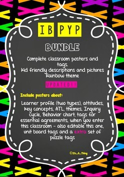 Complete IB PYP Bundle classroom display set | chalkboard and rainbow theme