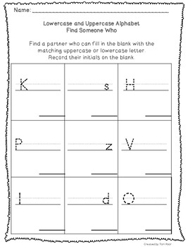 Complete Packet- Find Someone Who- Uppercase and Lowercase Letter Recognition