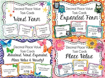 Complete Place Value Task Cards Bundle, Whole & Decimal Numbers {10 Sets}