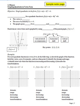 Complete Quadratics Unit Based on Common Core Standards for Honors Students