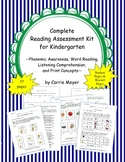 Complete Reading Assessment Kit for Kindergarten