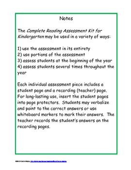 Complete Reading Assessment Kit for Kindergarten