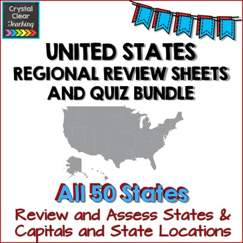 Complete Regions of the United States Review Sheets and Quizzes Bundle