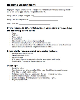 Complete Resume Writing Unit (PDF)