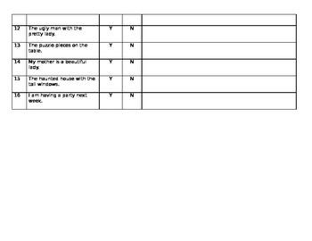 Complete Sentence Assessment