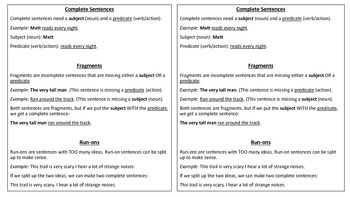 Complete Sentence, Fragment, Run-on Notes