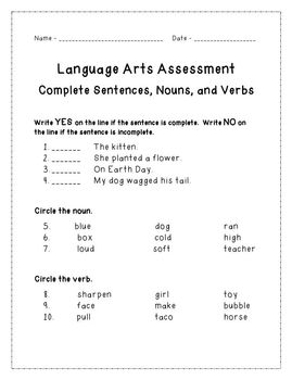 Complete Sentence, Noun, and Verb Assessment with Student Data Log