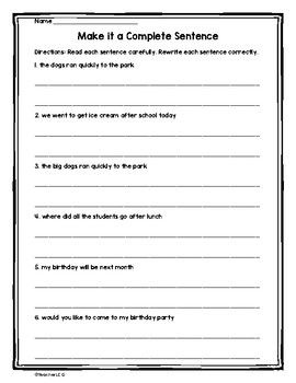Complete Sentence Practice Worksheets by TeacherLCG | TpT