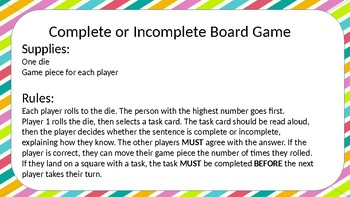 Complete Sentence, 4th Grade STAAR Review Board Game
