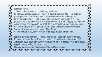 Complete Sentence, Run On, or Fragment - Brain and Arm Activity