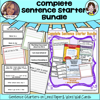 Complete Sentence Starter Bundle  ✅Great for remote learning & distant learning!