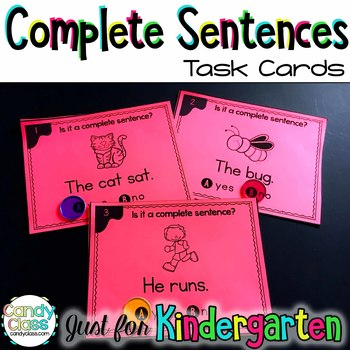 Kindergarten Complete Sentence Task Cards with Anchor Charts & Games