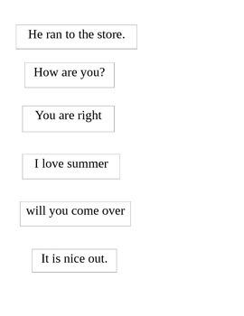 Complete Sentence Word Sort