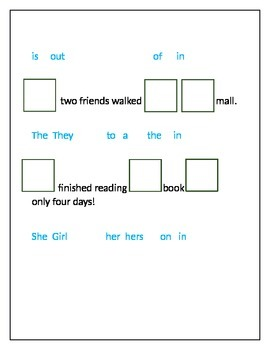 Complete Sentence Worksheet