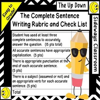Complete Sentence Writitng Rubric for Non-Language Arts Teachers