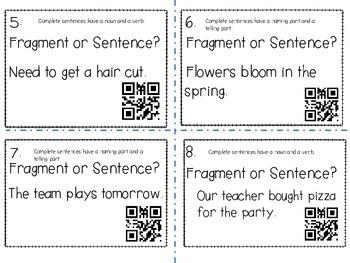 Complete Sentence or Fragment? (QR Codes)