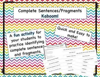 Complete Sentence or Fragment Kaboom