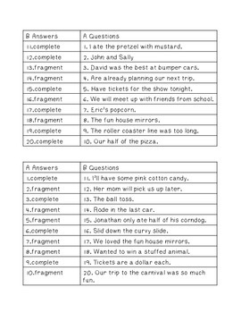 Complete Sentence or Fragment Partner Game and Practice Worksheet